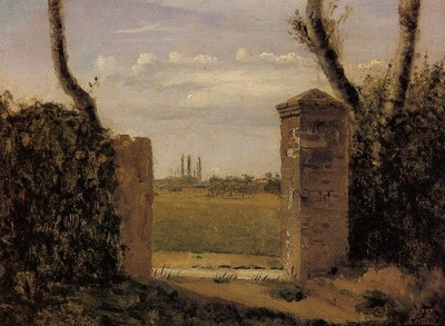 Corot Boid Guillaumi near Rouen A Gate Flanked by Two Posts