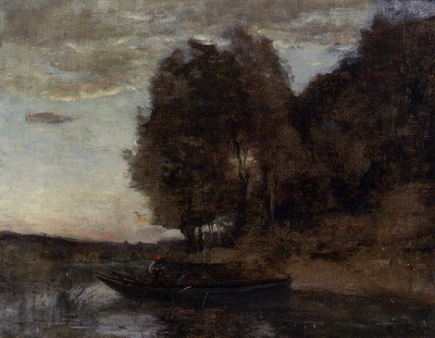 Corot Fisherman Boating along a Wooded Landscape