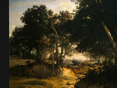Corot Forest of Fontainebleau, c  1830, Detalj 1, NG Washing