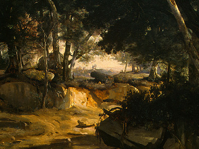 Corot Forest of Fontainebleau, c  1830, Detalj 2, NG Washing