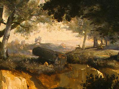 Corot Forest of Fontainebleau, c  1830, Detalj 3, NG Washing