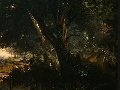 Corot Forest of Fontainebleau, c  1830, Detalj 6, NG Washing