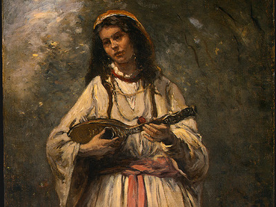 Corot Gypsy Girl with Mandolin, probably c  1870 1875, Detal
