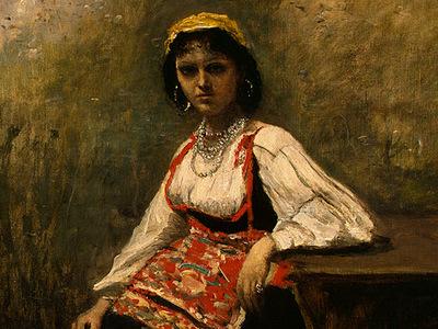Corot Italian Girl, c  1871 1872, Detalj 1, NG Washington