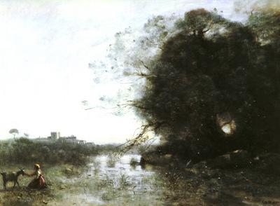 Corot Jean Baptiste Camille French 1796 to 1875 Le Marais Au Grand Arbre Et A La Chevriere O C