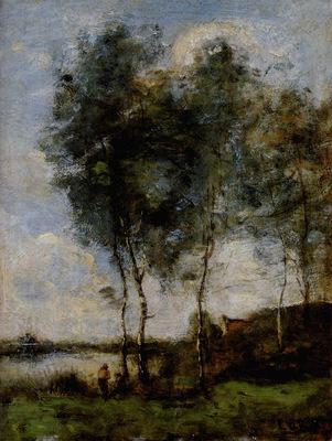 Corot Jean Baptiste Camille Pecheur Au Bord De La Riviere