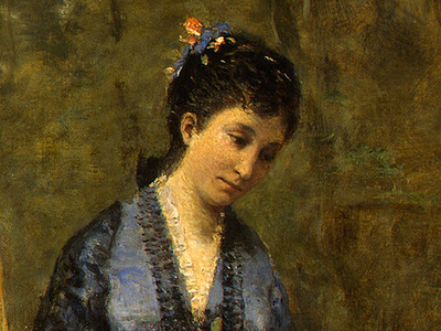 Corot Madame Stumpf and Her Daughter, 1872, Detalj 3, NG Was