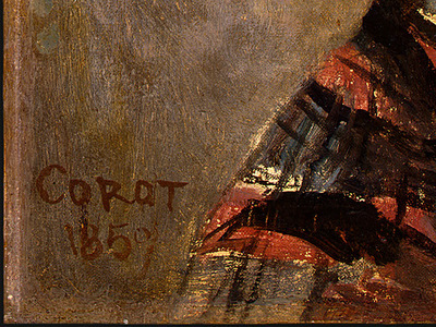 Corot Portrait of a Young Girl, 1859, Detalj 3, NG Washingto