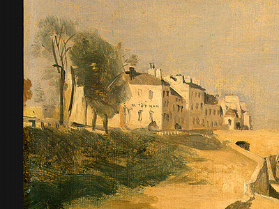 Corot River Scene with Bridge, 1834, Detalj 1, NG Washington
