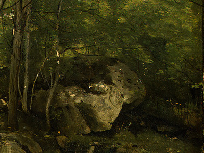 corot rocks in the forest of fontainebleau, 1860 1865, det