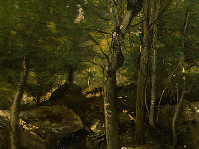 Corot Rocks in the Forest of Fontainebleau, 1860 1865, Detal