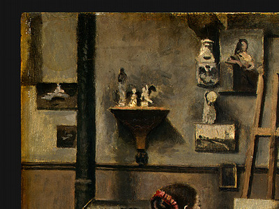 Corot The Artists Studio, c  1855 1860, Detalj 1, NG Washin