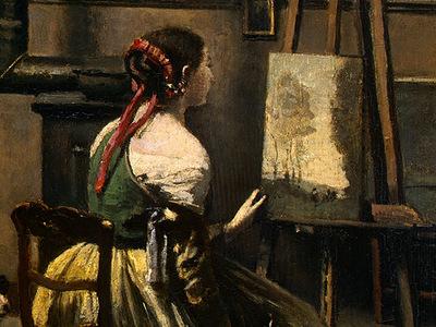 Corot The Artists Studio, c  1855 1860, Detalj 3, NG Washin