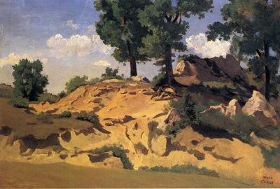 Corot Trees and Rocks at La Serpentara