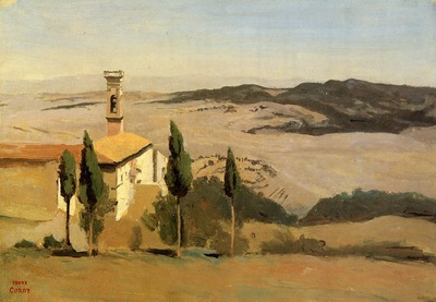 Corot Volterra Church and Bell Tower