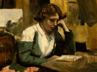 Corot Young Girl Reading, 1868 1870, Detalj 1, NG Washington