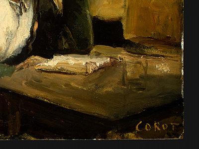 Corot Young Girl Reading, 1868 1870, Detalj 3, NG Washington
