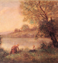 Corot Jean Baptiste Camille VILLE D AVARY PAYSANNE ET SON ENFANT ENTRE DEUX ARBRES AU BORD DE L