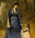 Corot Madame Stumpf and Her Daughter, 1872, Detalj 1, NG Was