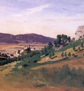 Corot Olevano the Town and the Rocks
