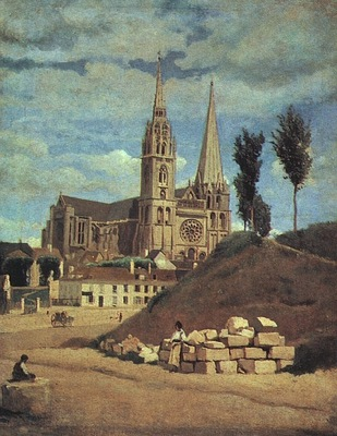 corot chartres cathedral, 1830 retouched