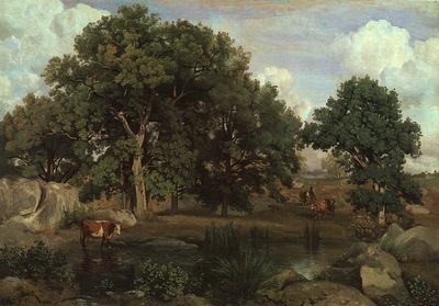 COROT FOREST OF FONTAINEBLEAU, 1846, OIL ON CANVAS