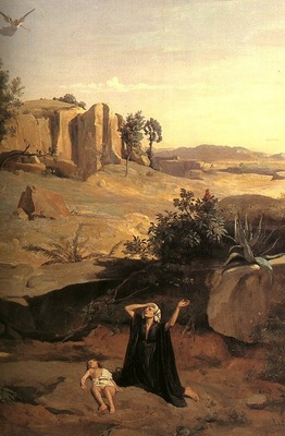 COROT HAGAR IN THE WILDERNESS, DETAIL, 1835, OIL ON CANVAS
