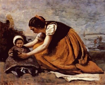 corot mother and child on the beach c1860