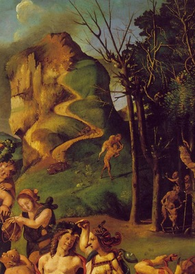 piero di cosimo the discovery of honey, detalj 1, ca 1505