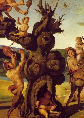 piero di cosimo the discovery of honey, detalj 2, ca 1505