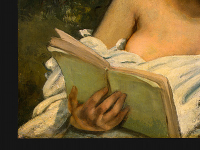 Courbet A Young Woman Reading, detalj 3, 1866 1868, NG Washi