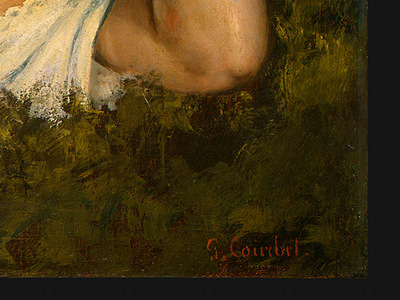 Courbet A Young Woman Reading, detalj 4, 1866 1868, NG Washi