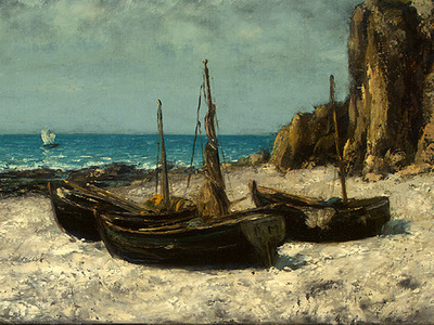 Courbet Boats on a Beach, Etretat, after 1869, Detalj 2, NG