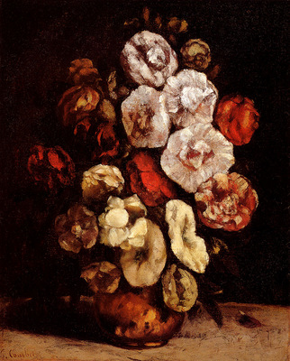 Courbet Gustave Hollyhocks In A Copper Bowl