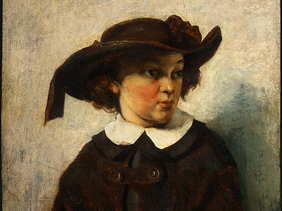 Courbet Portrait of a Young Girl, 1857, Detalj 1, NG Washing