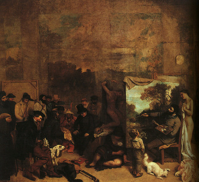 Courbet The Painters Studio, detail, 1855, Musee du Louvre,