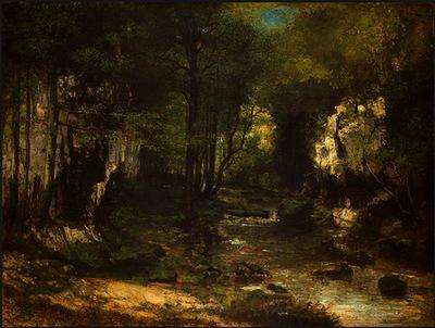 Courbet The Stream Le ruisseau du Puits Noir vallee de la