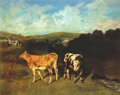 courbet white bull and blond heifer 1850