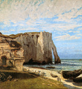 Courbet Gustave The rock of Etretat Sun