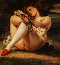 Courbet Woman with white stockings, ca 1861, Barnes foundati