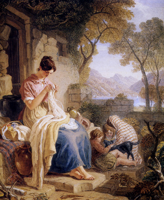 Cristall Joshua Scottish peasant girl embroiding Sun