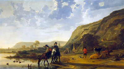 Cuyp Albert Riverlandscape with horsemen Sun