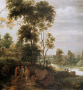 DHondecoeter Gillis Landscape with road to Emmaus Sun