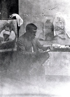 Dagnan working on Breton Women at a Pardon