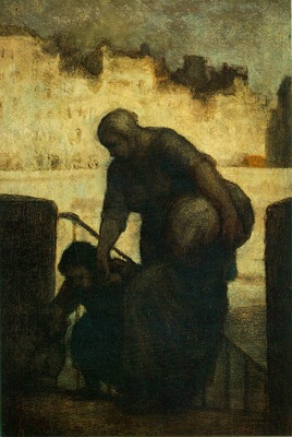 Daumier Laveuse au Quai dAnjou, c  1860 Oil on wood panel,