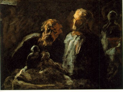 Daumier Two sculptors, Undated, Oil on wood, 11 x 14 in The