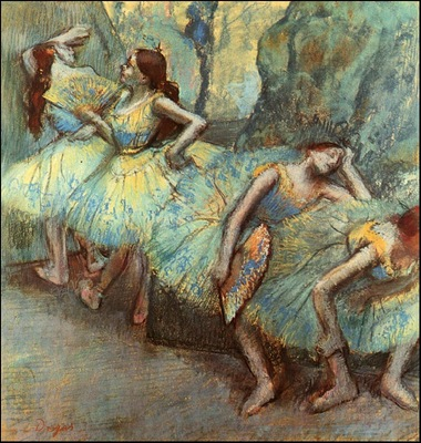 degas ballet dancers in the wings, 1890