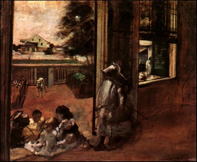 degas children sat down in the house door, 1872