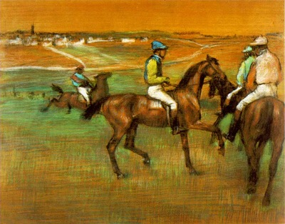 Degas Race horses, 1885 88, Pastel on panel, Philadelphia Mu