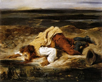 DELACROIX Eugene A Mortally WOunded Brigand Quenches His Thirst